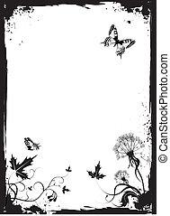 Grunge vector floral background