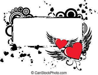 Grunge vector frame with two hearts