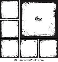 Grunge vector frames - Set of grunge 6 vector frames. Grunge...