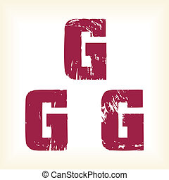 Grunge vector G letter - serif