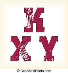 Grunge vector K, X & Y letters type