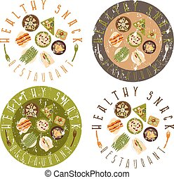 grunge vector labels set for healthy food restaurant
