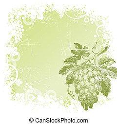 grunge, vector, plano de fondo, con, mano, dibujado, ramo uvas