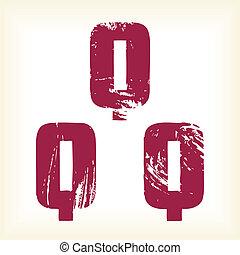 Grunge vector Q letter - font