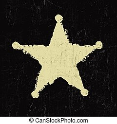 grunge, vector, star., alguacil