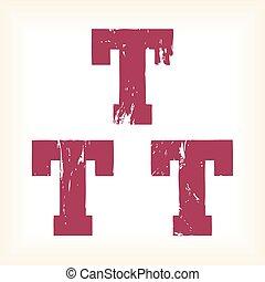 Grunge vector T letter - slab