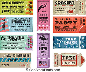 A collection of 10 vector grunted Tickets, Vector file is organized with layers, with every ticket divided into 3 layers, separating Background Shape from the texture effect and text.