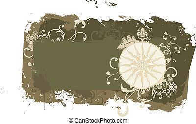 Grunge vector vintage travel frame with wind rose
