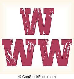 Grunge vector W letter - alphabet