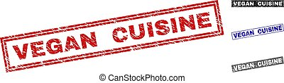Grunge VEGAN CUISINE Scratched Rectangle Watermarks