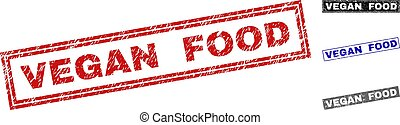 Grunge VEGAN FOOD Scratched Rectangle Watermarks
