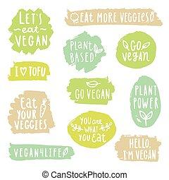 grunge, vegan, labels.