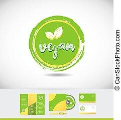 grunge, vegan, logo, cirkel, badge, pictogram