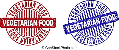 Grunge VEGETARIAN FOOD Scratched Round Stamps