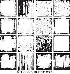 grunge, vektor, bakgrunder, fyrkant