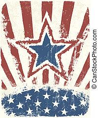 grunge, vektor, hazafias, poster., nap, szabadság