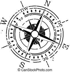 grunge, vektor, kompass