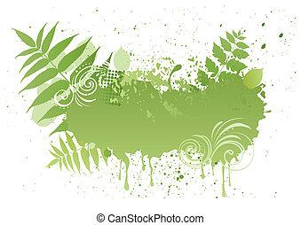 grunge, vektor, levél növényen, természet