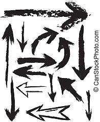 grunge, vektor, nyílvesszö, ecset
