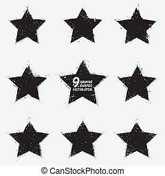 grunge, vektor, stjärnor