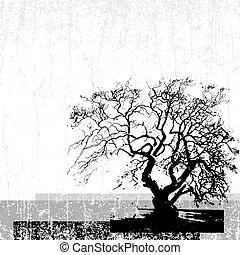 grunge, vektor, träd, bakgrund