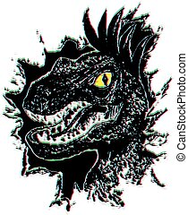 Grunge Velociraptor Portrait - Grunge portrait of the...