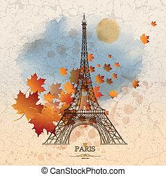 grunge, vendange, feuilles, eiffel, illustration, automne, vecteur, fond, tour