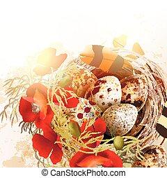 grunge, vendange, nid, plumes, vecteur, fond, pavot, fleurs, paques, oiseau, style.eps