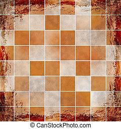 grunge, vendange, résumé, texture, arrière-plan., orange, cadre
