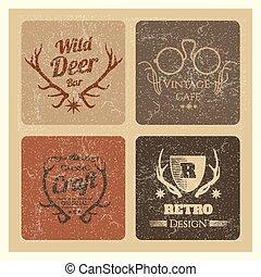 grunge, vendange, set., étiquettes, vecteur, hipster, branché, logo, café, marque
