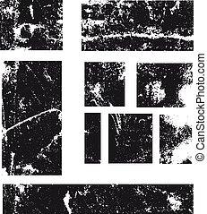 grunge, vendange, stamp., emblèmes, vecteur, retro, label., cadres, rectangle
