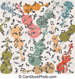 grunge, vendemmia, fondo, con, violini, e, note musicali