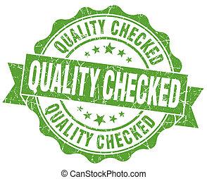 grunge, vendimia, aislado, verde, sello, comprobado, calidad...