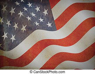 grunge, vendimia, bandera estadounidense, papel, viejo
