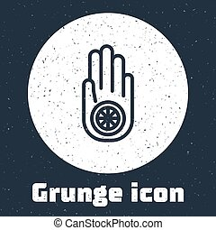 grunge, vendimia, línea, ilustración, o, ahimsa., signo., ...