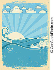 grunge, vendimia, resumen, day., papel, mar, ondas, sol, imagen