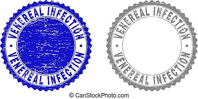 Grunge VENEREAL INFECTION stamp seals isolated on a white background. Rosette seals with distress texture in blue and gray colors.