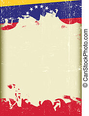 Grunge Venezuelan flag - A poster with a large scratched...