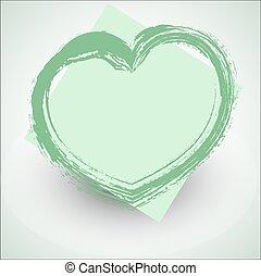 grunge, verde, vettore, bandiera, cuore