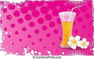grunge, verre, jus, plumeria, fleurs oranges, bannière