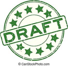 grunge, vert, traite, à, étoile, icône, rond, joint en caoutchouc, timbre, blanc, fond