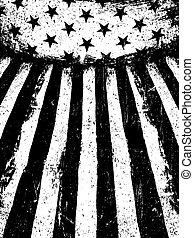 grunge, vertical, orientation., fotocopia, negativo, fondo., bandera, vector, monocromo, norteamericano, viejo, template.