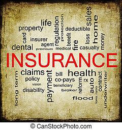 grunge, verzekering, woord, wolk, concept