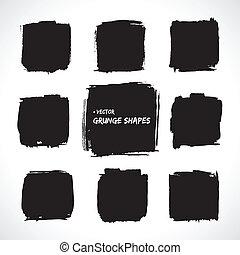 grunge, vetorial, formas