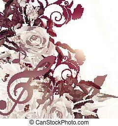grunge, vetorial, fundo, com, rosas, em, vindima, sepia, style.eps