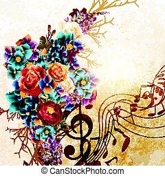 grunge, vettore, fondo, con, note musica, e, rosa, fiori, in, vendemmia, style.eps