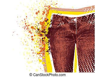 grunge, vettore, fondo., jeans denim