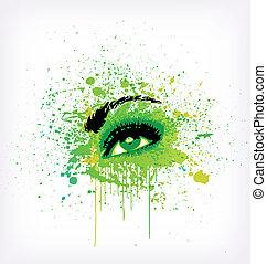 grunge, vettore, verde, make-up., astrazione