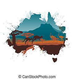 grunge, viaggiare, australia, disegno, sagoma