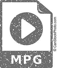 grunge, video, -, bestand, pictogram